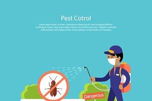Pest Control Banner Design Flat