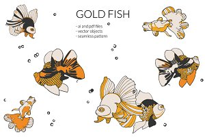 Hand drawn Gold fish illustration