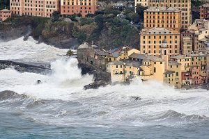 Sea storm in Camogli