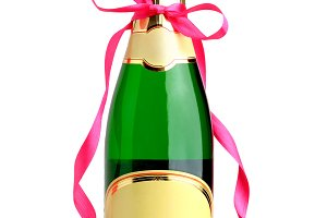 Bottle of champagne with ribbon