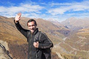 Happy tourist traveler