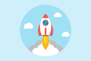 Rocket launch icon flat
