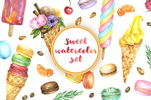 Summer desserts : watercolor DIY kit