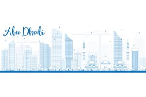 Outline Abu Dhabi City Skyline