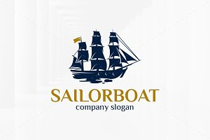 Sailor Boat Logo Template