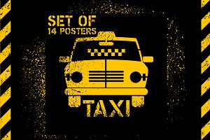 Typographic retro grunge taxi poster
