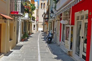 Crete - Old Street With Shops