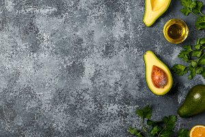 Food background with avocado