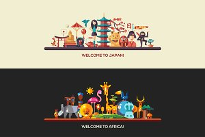 Travel to Japan & Africa - Banners
