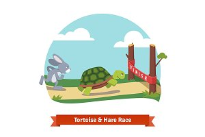 Turtle and rabbit racing together