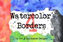 4 Handmade Watercolor Borders