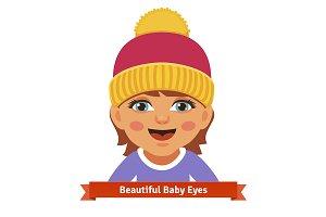 Newborn baby girl in pink hat