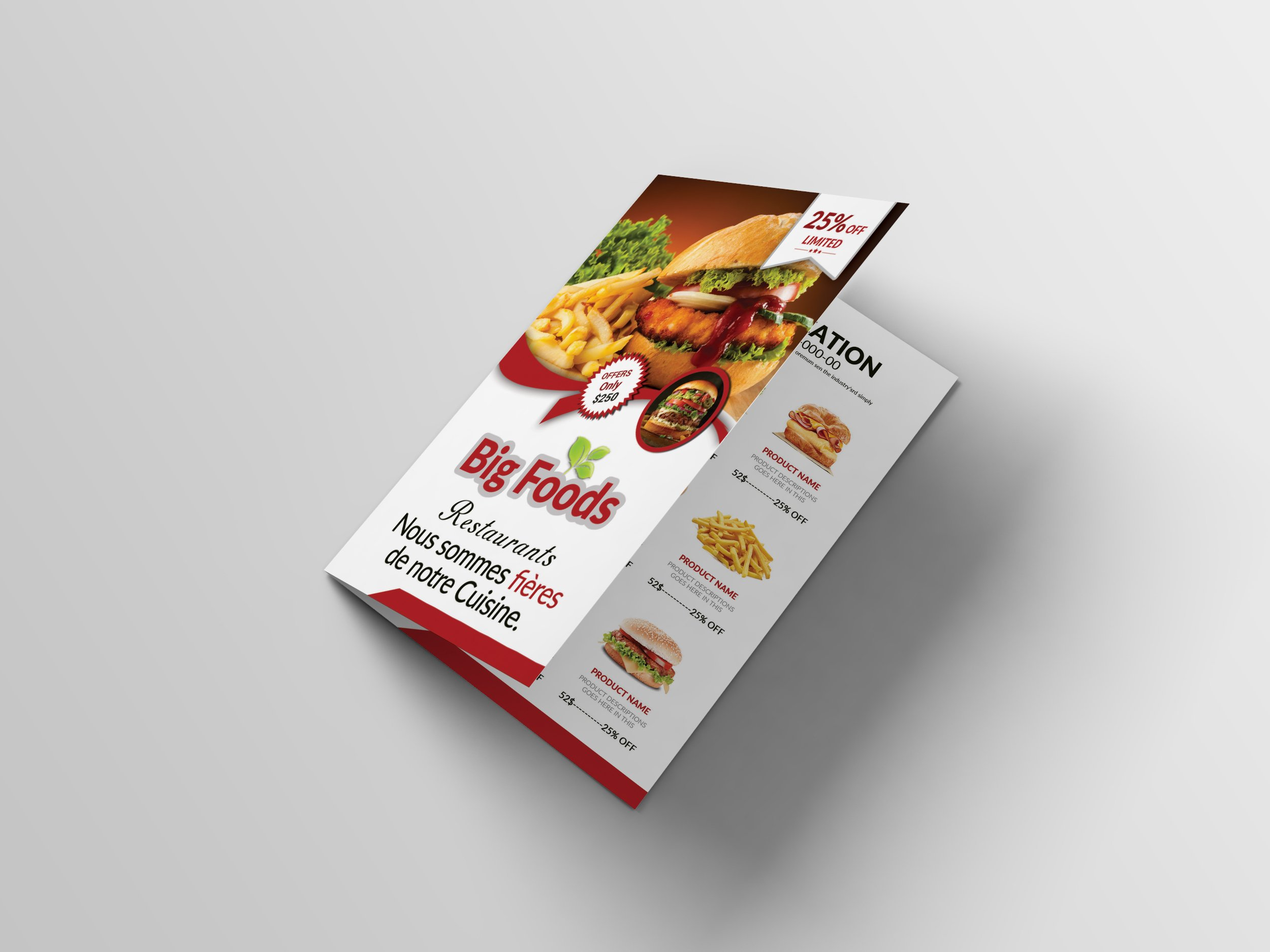 bi fold restaurant food menu brochure templates creative market