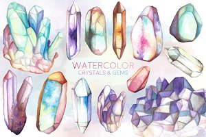 Watercolor Crystals & Gems Bundle