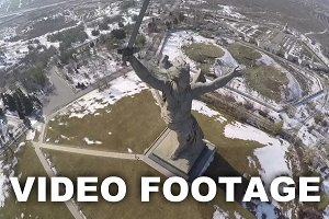 Flying over monumental statue