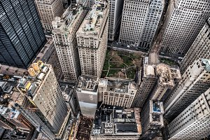 Arial view to Manhattan skyscrapers