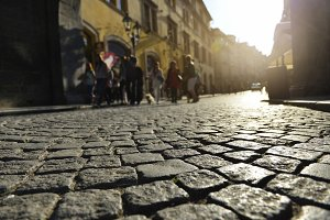 street with paving stone in old town