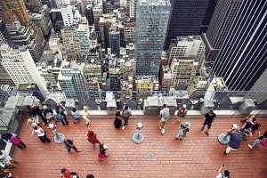 Tourists on rooftop in New York