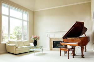 Home Living Room with Piano