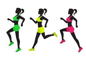 three silhouettes of running women