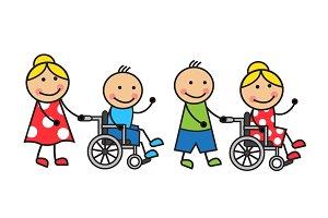 Cartoon people on wheelchairs
