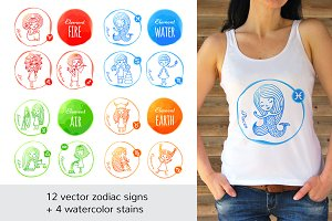 Watercolor Zodiac Signs Cute Girls