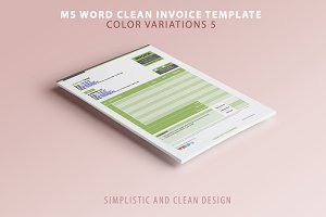MS Word Invoice Template (5 Colours)