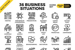 36 Business Situations concept icons