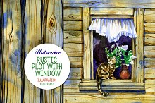 Watercolor rustic plot with window
