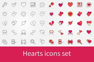 Hearts icons set