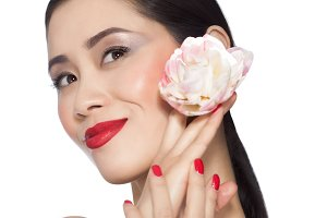 Asian Model With Peony