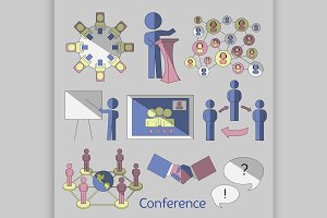 Conference icons set