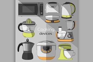 Cooking devices, icons set
