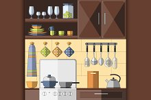 Cooking tools and items set.