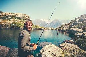 Bearded Man Fisherman happy fishing