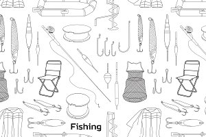 Fishing hand drawn pattern