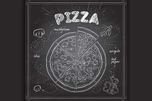 Pizza with mashrooms scetch