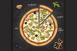 Pizza with mushrooms color picture