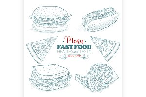 Scetch fast food menu
