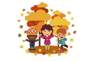 Mixed race kids hawing fun in autumn