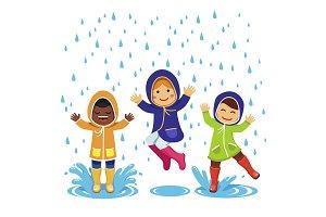 Kids plaing in the rain