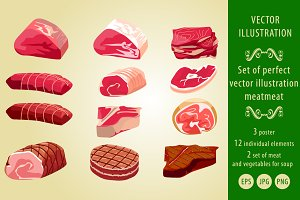 a collection of illustrations: Meat