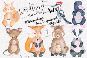Watercolor cute woodland animals
