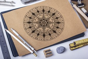 Black and white geometrical mandala