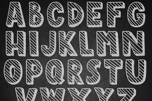 numbers in letters chalk font on the school board illustrations creative 23802 | final1