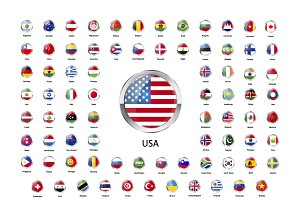Set of round glossy icons of flags