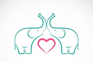 Vector image of elephant and heart
