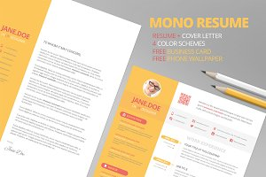 Mono Resume CV + FREE Business Card