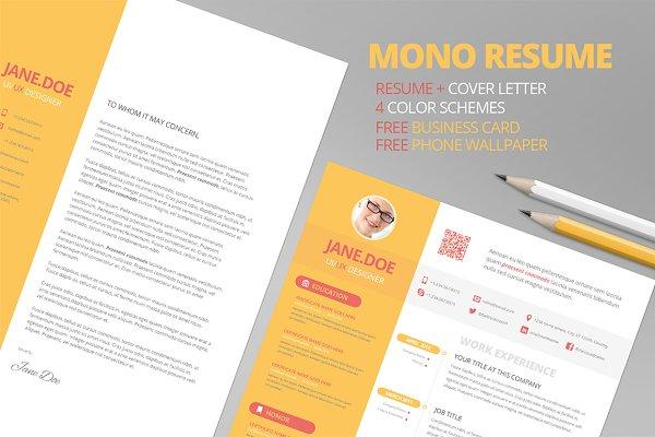 Mono Resume CV + FREE Business Card