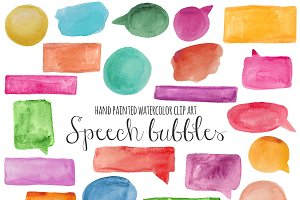 Speech bubbles watercolor clipart